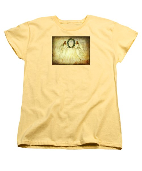 Women's T-Shirt (Standard Cut) featuring the mixed media Angels Christmas Card Or Print by Bellesouth Studio