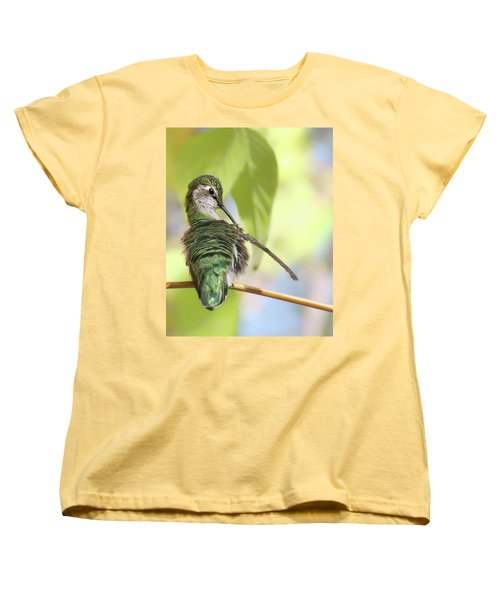 Anna's Hummingbird - Preening Women's T-Shirt (Standard Cut) by Nikolyn McDonald