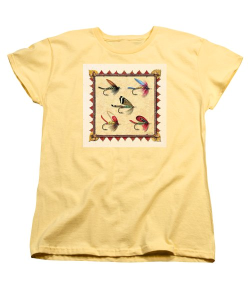 Women's T-Shirt (Standard Cut) featuring the painting Antique Fly Panel Creme by JQ Licensing