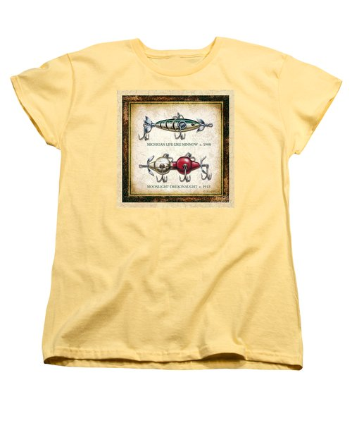 Women's T-Shirt (Standard Cut) featuring the painting Antique Lure Panel Two by JQ Licensing Jon Q Wright