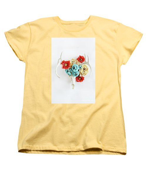 Women's T-Shirt (Standard Cut) featuring the photograph Antlers And Florals by Stephanie Frey
