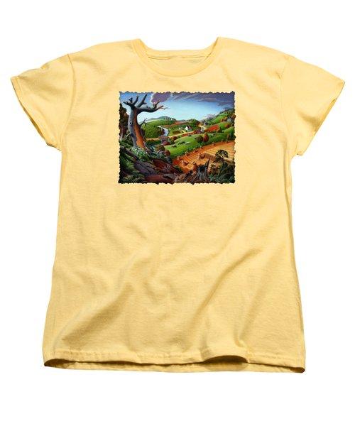 Appalachian Fall Thanksgiving Wheat Field Harvest Farm Landscape Painting - Rural Americana - Autumn Women's T-Shirt (Standard Cut) by Walt Curlee