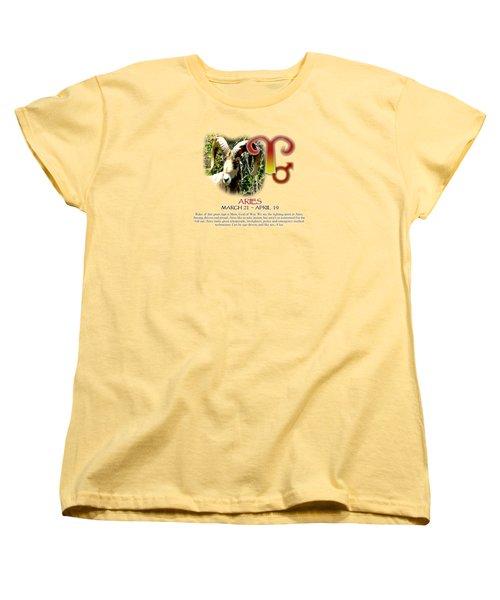 Aries Sun Sign Women's T-Shirt (Standard Cut) by Shelley Overton