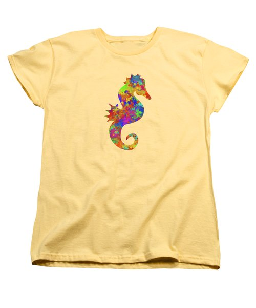 Seahorse Watercolor Art Women's T-Shirt (Standard Cut) by Christina Rollo