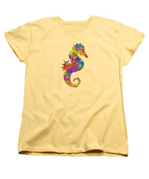 Seahorse Watercolor Art Women's T-Shirt (Standard Cut) by Christina Rollo