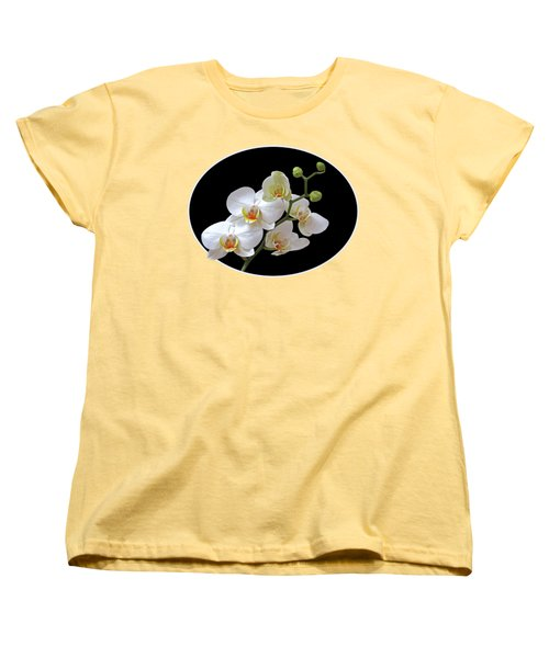 Orchids On Black And Gold Women's T-Shirt (Standard Cut) by Gill Billington