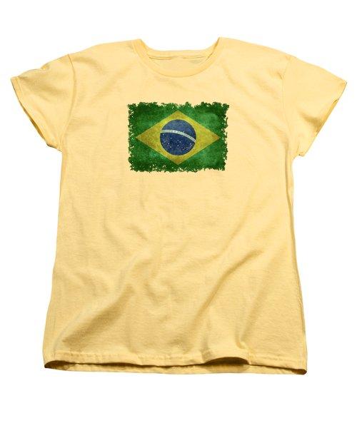 Flag Of Brazil Vintage 18x24 Crop Version Women's T-Shirt (Standard Cut) by Bruce Stanfield