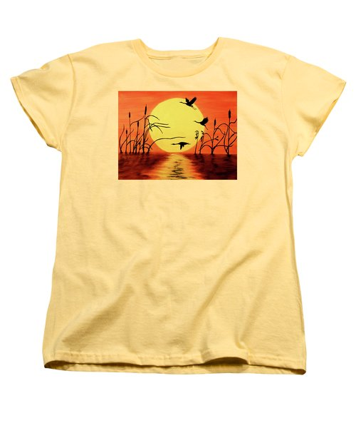 Sunset Geese Women's T-Shirt (Standard Cut) by Teresa Wing