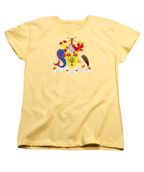 Women's T-Shirt (Standard Cut) featuring the drawing Barbados Coat Of Arms by Movie Poster Prints
