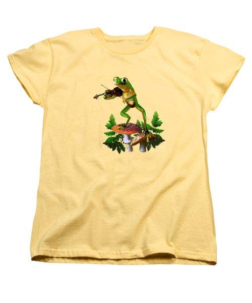 Humorous Tree Frog Playing A Fiddle Women's T-Shirt (Standard Cut) by Regina Femrite