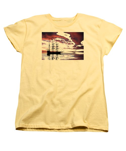 Pirate Ship At Sunset Women's T-Shirt (Standard Cut) by Shane Bechler
