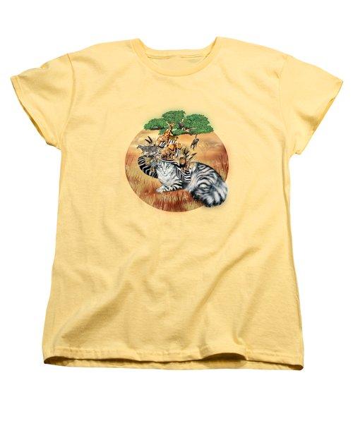 Cat In The Safari Hat Women's T-Shirt (Standard Cut) by Carol Cavalaris