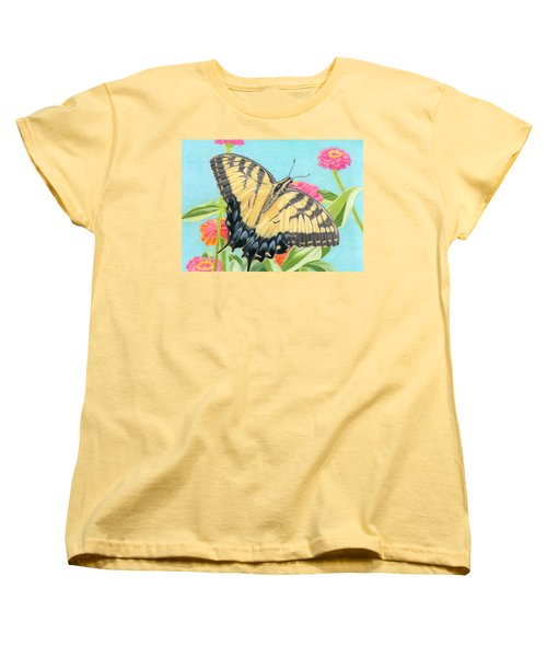 Swallowtail Butterfly And Zinnias Women's T-Shirt (Standard Cut) by Sarah Batalka
