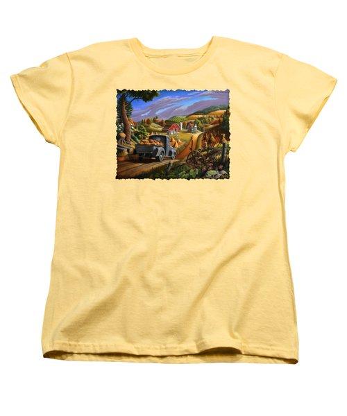 Autumn Appalachia Thanksgiving Pumpkins Rural Country Farm Landscape - Folk Art - Fall Rustic Women's T-Shirt (Standard Cut) by Walt Curlee
