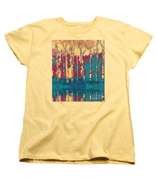 Women's T-Shirt (Standard Cut) featuring the painting Autumn Birches by Holly Martinson