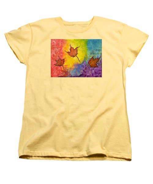 Autumn Bliss Colorful Abstract Painting Women's T-Shirt (Standard Cut)