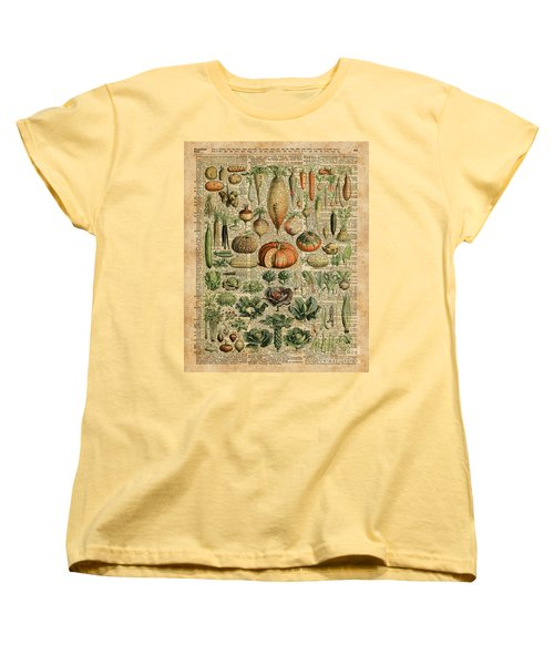 Autumn Fall Vegetables Kiche Harvest Thanksgiving Dictionary Art Vintage Cottage Chic Women's T-Shirt (Standard Cut)