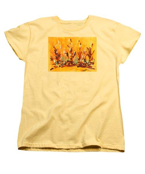 Women's T-Shirt (Standard Cut) featuring the painting Autumn Garden by Holly Carmichael