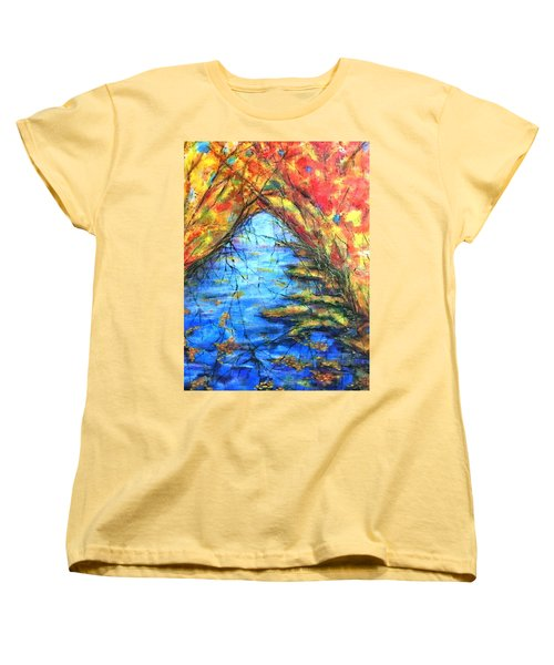 Women's T-Shirt (Standard Cut) featuring the painting Autumn Reflections 2 by Rae Chichilnitsky