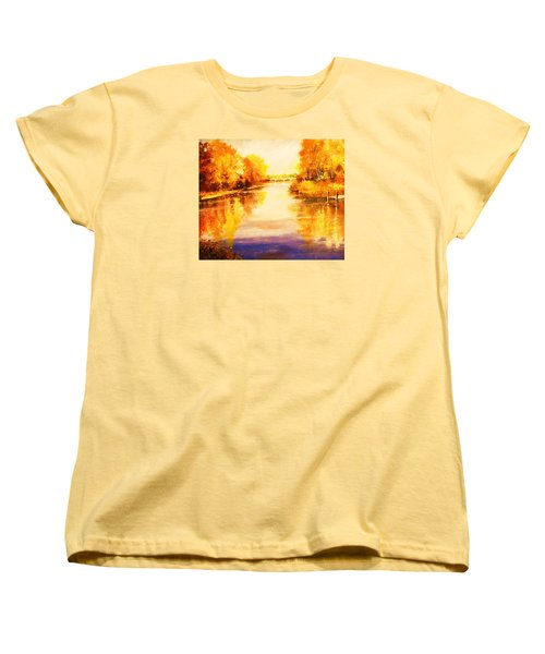 Women's T-Shirt (Standard Cut) featuring the painting Autumn Gateway by Al Brown