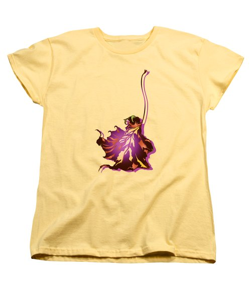 Women's T-Shirt (Standard Cut) featuring the digital art Autumn Sycamore Leaf by MM Anderson