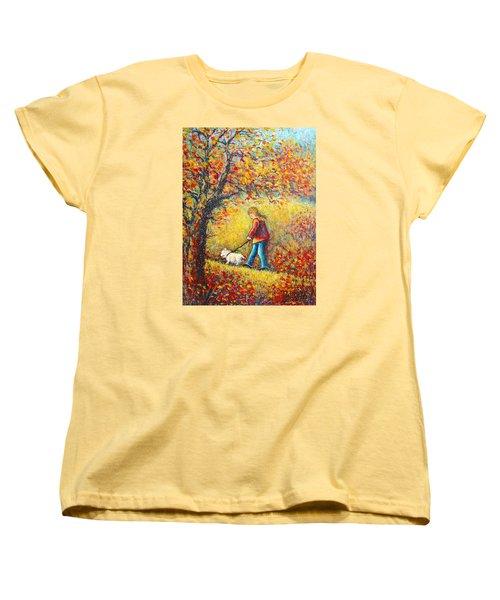 Women's T-Shirt (Standard Cut) featuring the painting Autumn Walk  by Natalie Holland