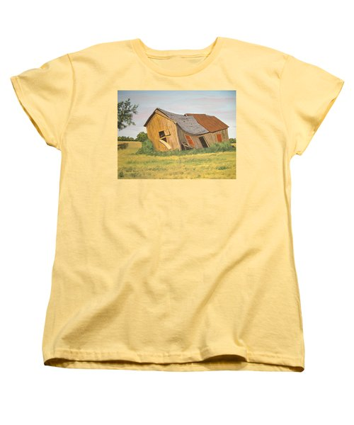 Women's T-Shirt (Standard Cut) featuring the painting Award-winning Original Acrylic Painting - Now I Lay Me Down To Sleep by Norm Starks