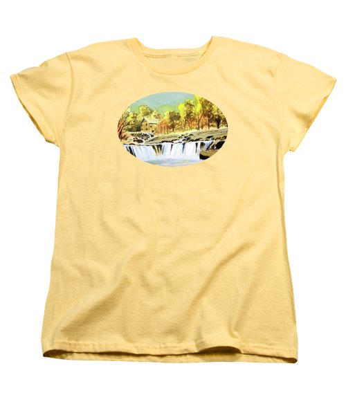Women's T-Shirt (Standard Cut) featuring the painting Babcock State Park West Virginia by Bill Holkham