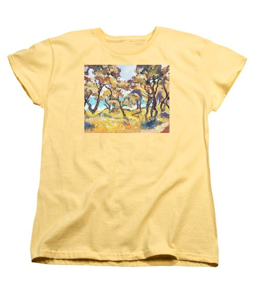 Backlight Olive Trees Marmari Beach Women's T-Shirt (Standard Fit)