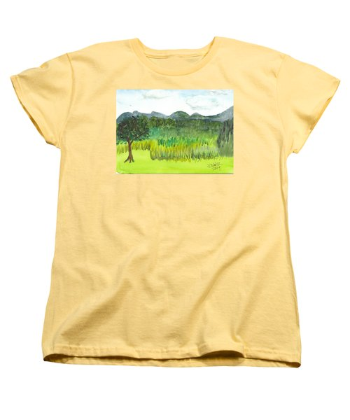 Women's T-Shirt (Standard Cut) featuring the painting Backyard In Barton by Donna Walsh