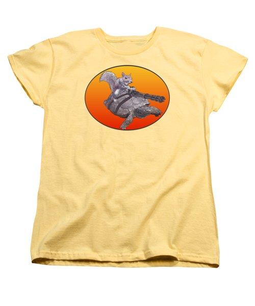 Backyard Modern Warfare Crazy Squirrel Women's T-Shirt (Standard Cut) by David Mckinney