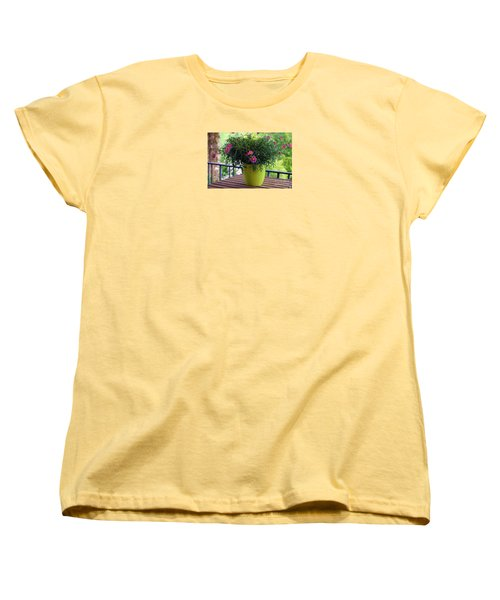 Women's T-Shirt (Standard Cut) featuring the photograph Balcony Flowers by Susanne Van Hulst