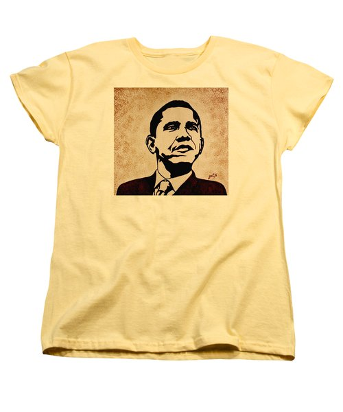 Barack Obama Original Coffee Painting Women's T-Shirt (Standard Cut) by Georgeta  Blanaru