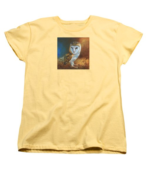 Women's T-Shirt (Standard Cut) featuring the painting Barn Owl Blue by Terry Webb Harshman