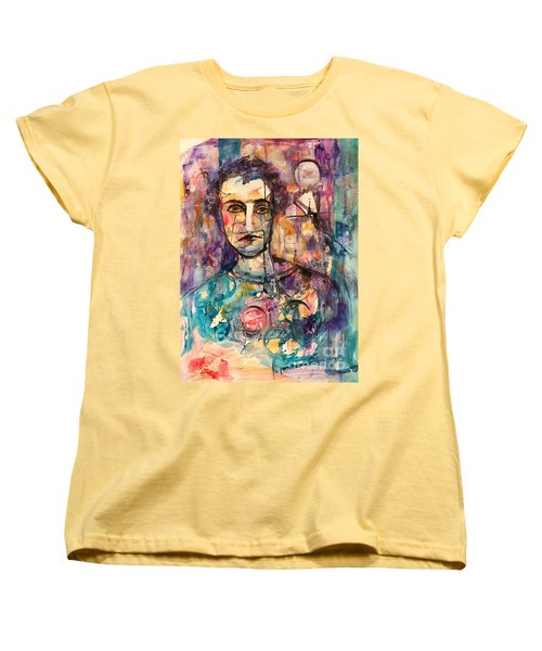 Women's T-Shirt (Standard Cut) featuring the painting Baseball Player by Ellen Anthony