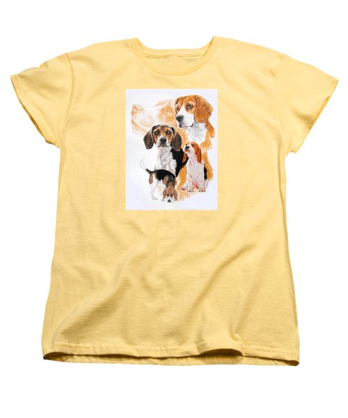 Beagle W/ghost Women's T-Shirt (Standard Cut) by Barbara Keith