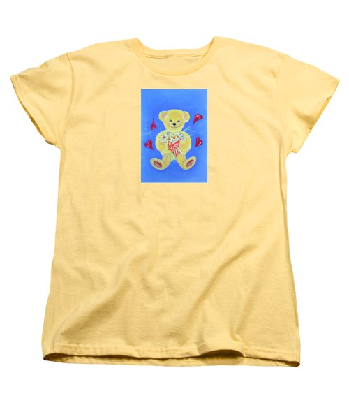 Women's T-Shirt (Standard Cut) featuring the pastel Bear With Flowers by Elizabeth Lock
