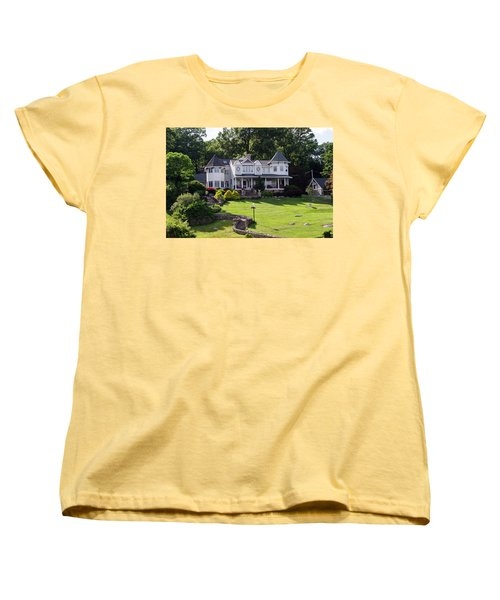 Women's T-Shirt (Standard Cut) featuring the photograph Beautiful Home On Lake Hopatcong by Maureen E Ritter