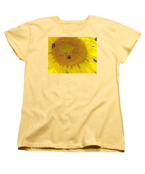Women's T-Shirt (Standard Cut) featuring the photograph Bees Share A Sunflower by Sandi OReilly