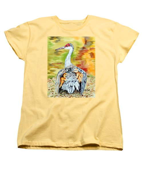 Women's T-Shirt (Standard Cut) featuring the painting Beneath My Wings by Maria Barry