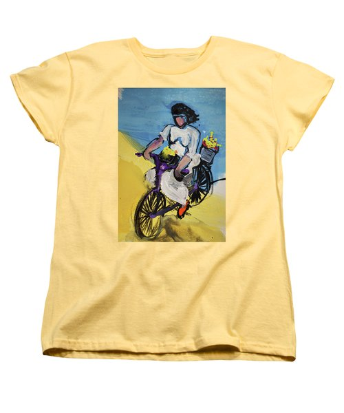 Bicycle Riding With Baskets Of Flowers Women's T-Shirt (Standard Cut)