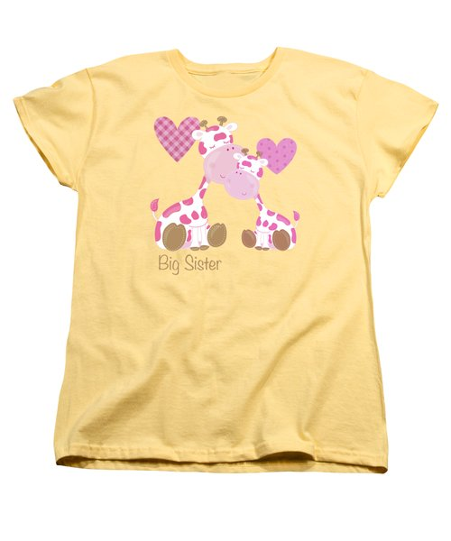 Big Sister Cute Baby Giraffes And Hearts Women's T-Shirt (Standard Cut) by Tina Lavoie