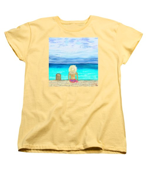 Bikini On The Pier Women's T-Shirt (Standard Cut) by Jeremy Aiyadurai