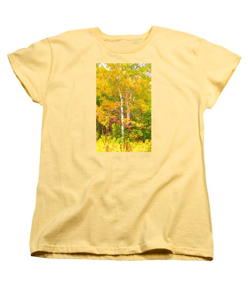 Birch Afire  Women's T-Shirt (Standard Cut) by Susan Crossman Buscho
