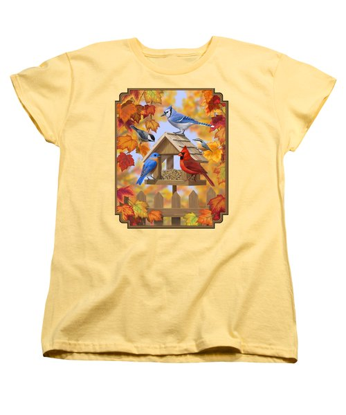 Bird Painting - Autumn Aquaintances Women's T-Shirt (Standard Cut) by Crista Forest
