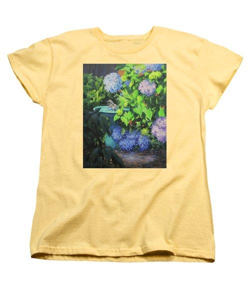 Birdbath And Blossoms Women's T-Shirt (Standard Cut)