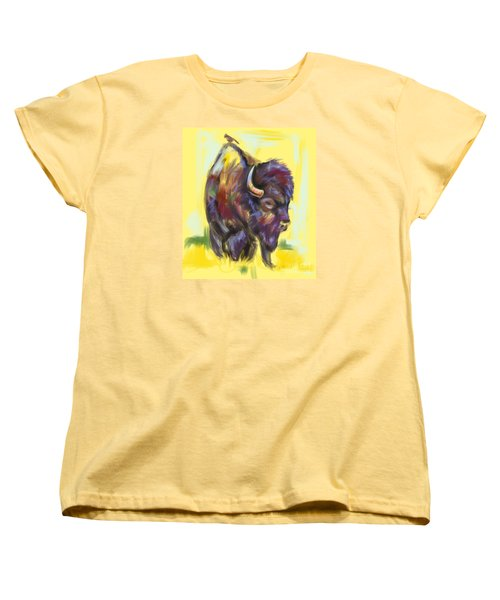 Women's T-Shirt (Standard Cut) featuring the painting Bison And Bird by Go Van Kampen