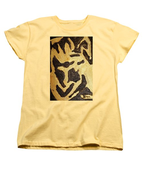 Black And Gold Mask Women's T-Shirt (Standard Cut) by Shea Holliman