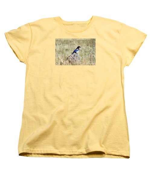 Women's T-Shirt (Standard Cut) featuring the photograph Black-billed Magpie by Janie Johnson
