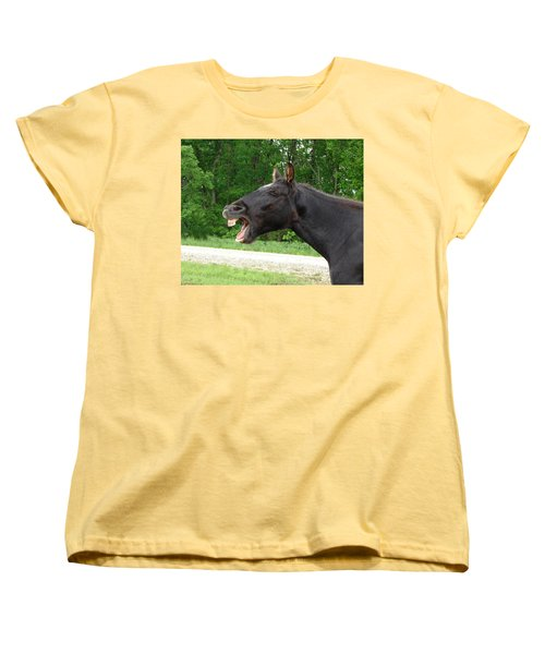 Women's T-Shirt (Standard Cut) featuring the digital art Black Horse Laughs by Jana Russon